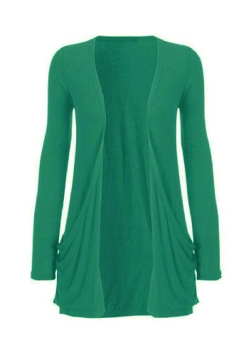 Hot Hanger Ladies Plus Size Pocket Long Sleeve Cardigan 16-26 (24-26 XXXL, Green)