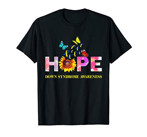 Ribbon Down Syndrome Awareness - Down Syndrome Awareness Blue & Yellow Ribbon Butterfly  T-Shirt