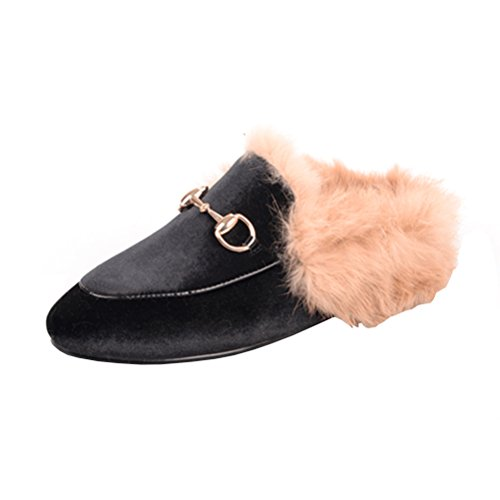 (Agodor Womens Flats Suede Leather Slingback Mules with Faux Fur Slip on Outdoor Dress Slippers Warm Classic Shoes)
