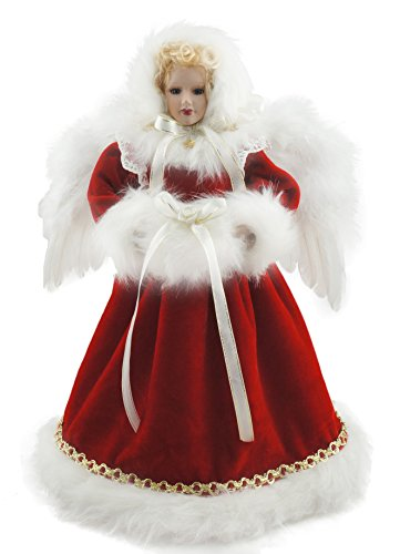 Porcelain Doll Ornament - Cosette Noble Christmas Decoration Angel Red Green Porcelain Doll Wings (Red1)