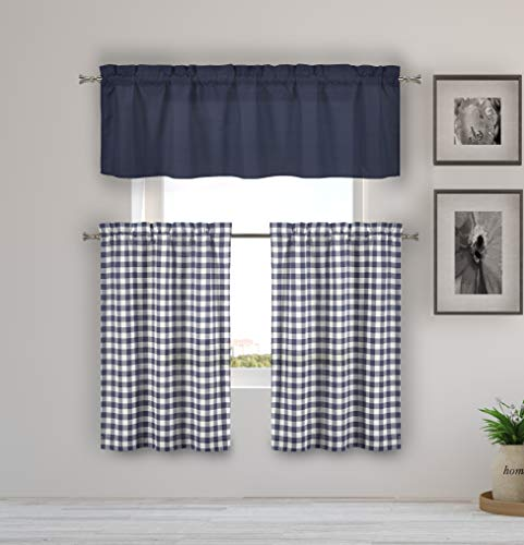 Home Maison  - Kaiser Plaid Gingham Checkered Kitchen Tier & Valance Set | Small Window Curtain for Cafe, Bath, Laundry, Bedroom - (Navy Blue)