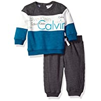 Calvin Klein Baby Pullover With Pants Set, Gray, 6-9 Months