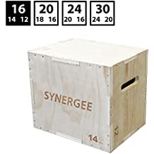 iheartsynergee 3 in 1 Wood Plyometric Box for Jump Training and Conditioning. Wooden Plyo Box All In One Jump Trainer. Sizes 30/24/20, 24/20/16, 20/18/16, 16/14/12