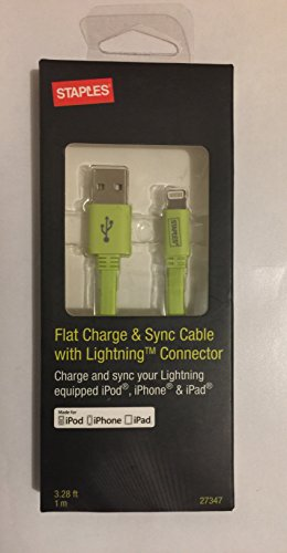 Staples LightningTM Charge & Sync Cable - 1 Meter, Green