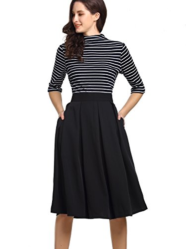 Beluring Womens High Waisted Skater Skirts with Pockets Black Size (Business Casual Skirt)