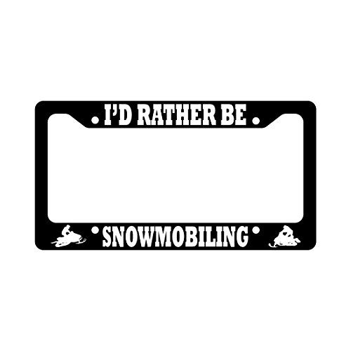 Snowmobile I'd Rather Be Snowmobiling Car License Plate Frame