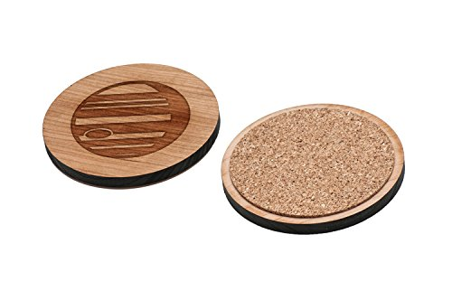 Jupiter Laser - WOODEN ACCESSORIES CO Wooden Coaster Set With Laser Engraved Jupiter Design - Set of 4 Laser Cut Coasters - Cherry Wood Round Wooden Coasters - Made In The USA