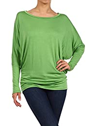 Women's Dolman Sleeves Plus Size Solid Tunic Top. Made in USA