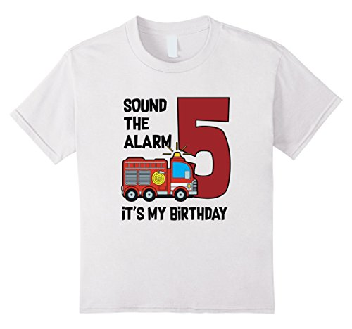 Unisex Child Fire Truck Birthday Boy Shirt 5 Years Old 6 White