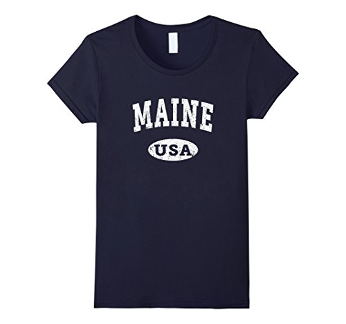 Womens Maine T Shirt  Vintage Distressed Maine Me Usa Small Navy