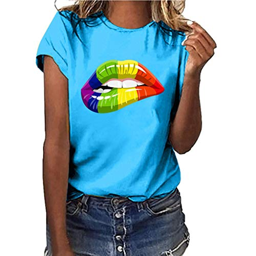 Women Plus Size Summer Tops OOEOO Women Red Lips Printing Tees Shirt Short Sleeve T Shirt Blouse (Sky Blue,S)
