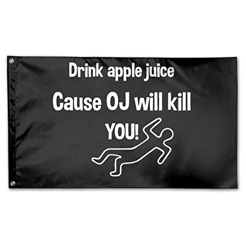 WINDST Personalized Funny Drink Apple Juice OJ Will Kill You Logo Garden Flag 3x5 ft Outdoor Garden Decorative Banner Black]()
