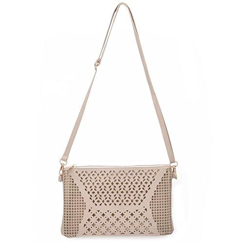 Jiaruo Vintage Girls Hollow Out Sling Leather Crossbody Bag Handbag Purse (light khaki)