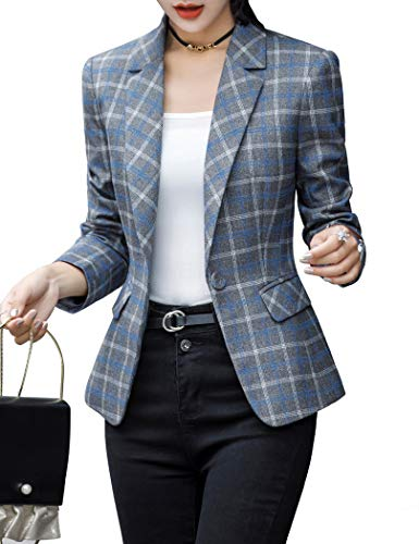 ZingineW Women's Blazer Long Sleeve Jacket One Button Office Cardigan Casual Plaid Blazers 4/2XL 971 GrayPlaid