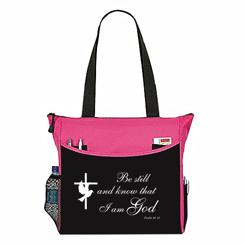 Psalm 46:10 Be Still And Know That I Am God Tote Bag Christian Bible Cover Verse Church Office School Travel Gym Book Organizer - Pink Black