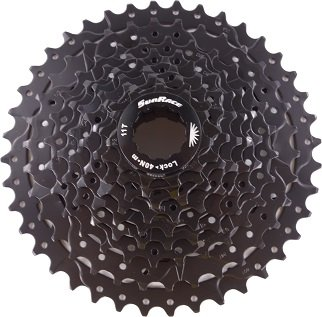 Sunrace 9 speed 11-40T wide ratio MTB cassette CSM990 with rear derailleur extender by JGbike (Black) (Derailleur Black)