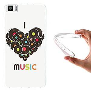 WoowCase - Funda Gel Flexible { bq Aquaris M5.5 } I Love Music Carcasa Case Silicona TPU Suave