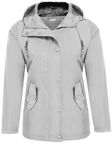 [Zeagoo Women Raincoat Front Button Hooded Windproof Jacket Grey L] (Button Front Hooded Coat)