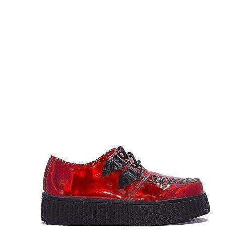 cheap Y.R.U. Womens Strange Cvlt Krypt x Ash Costello Red Hologram Bat Platform Sneaker