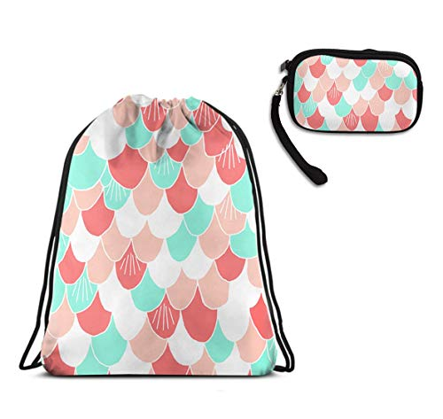 Swim Drawstring Bag, Lightweight Shoulder Backpack - Beautiful Colorful Mermaid Scales Drawstring Rucksack, High Capcity Waterproof String Bag + Travel Purse Wristlet Card Holder -