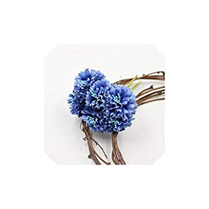 Fly-Town Marigold 6pcs/Bunch 3.5cm Mini Daisy Flower Bouquet Artificial Flower Wedding Decoration DIY Craft Home Decoration Accessories,Blue 44