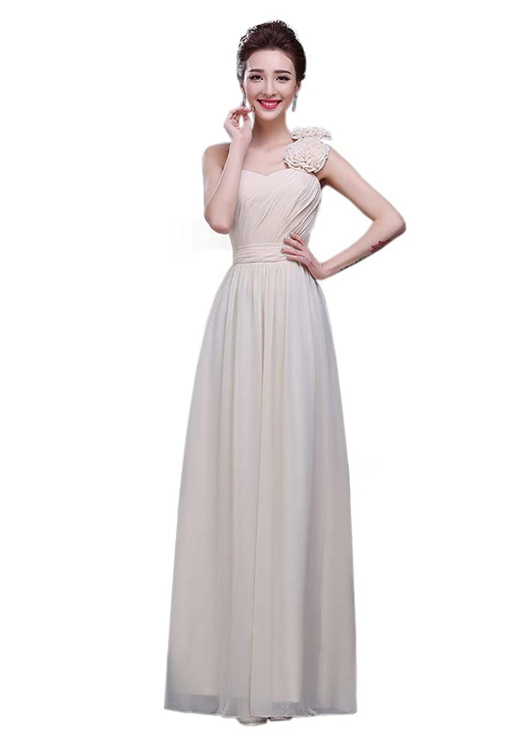 Hot Queen Women's One Shoulder Pleated Sleeveless Chiffon Sex Long Prom Dresses 2016