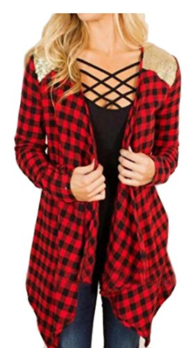 M Open Women's Red Jackets Slim amp;W amp;S Wine Print Cardigan Plaid Front rq6ar