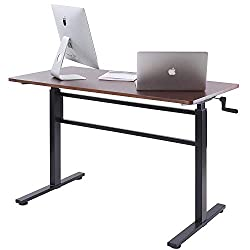 Unicoo Crank Adjustable Height Standing Desk, Adjustable Sit To Stand Up Desk,home Office Computer Table, Portable Writing Desk, Study Table (teak Top/black Legs)