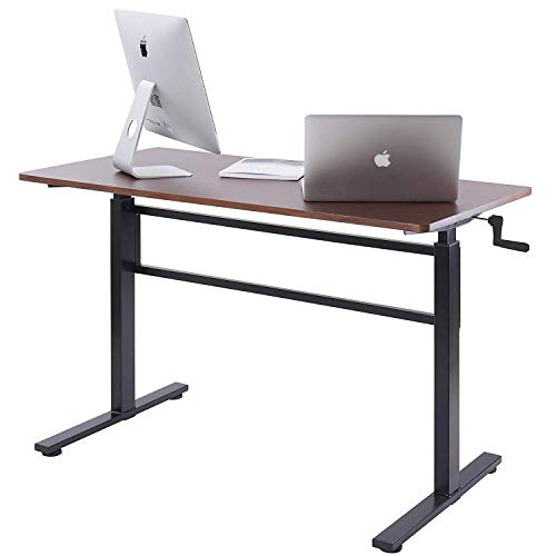 UNICOO - Crank Adjustable Height Standing Desk, Adjustable Sit to Stand up Desk,Home Office Computer Table, Portable Writing Desk, Study Table (Teak Top/Black Legs)