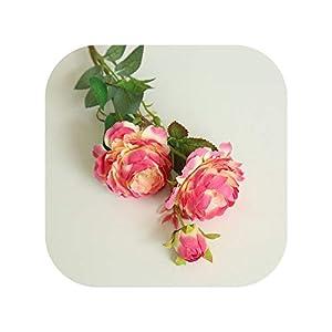 61cm Long Artificial Flower 3 Head Home Silk Peony Wedding Flower Rose Decorative,7 8