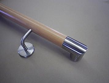 Buche Handlauf mit Edelstahl-Winkel-90/° und Edelstahlhalter in verschiedenen L/ängen 070cm 2 Edelstahl-Halter