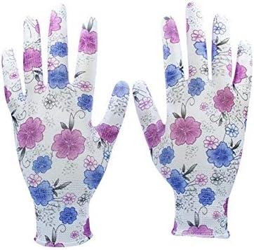 """手袋 日常 実用 PUコーティングスクリーンタッチガーデニンググローブ/家庭用安全手袋、10ペアを印刷する女性 (Color : Purple 24 Pairs, Size : XL(10""""))"""