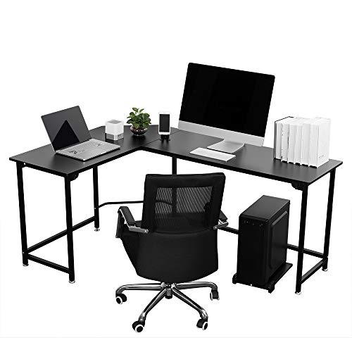 VIVOHOME Contemporary L Shaped Black Corner Computer Desk for Home ()