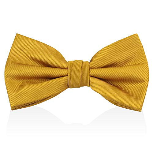 Gold Yellow Bow Ties For Men - Mens Woven Pre Tied Bowties For Men Bowtie Tuxedo Solid Color Formal Bow Tie (Yellow Silk Bow Tie)