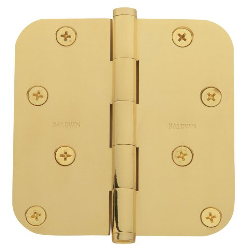 Baldwin 1140.I 4 Inch x 4 Inch Solid Brass Full Mortise Hinge with 5/8 Inch Radi, Polished Brass