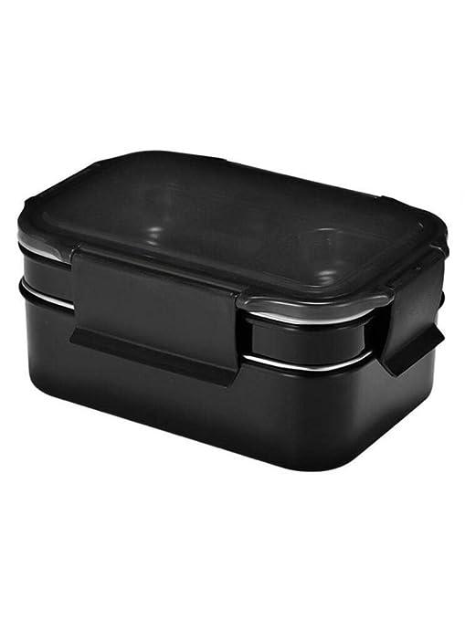 Showzon Caja de Almuerzo Doble de Acero Inoxidable 304 Negro ...