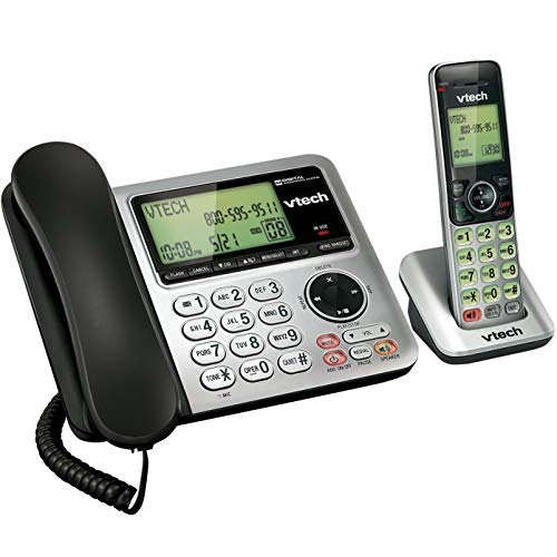 VTech CS6649 Expandable Corded/Cordless Phone System with Answering System-Caller ID/Call Waiting & Handset/Base Speakerphones (Certified Refurbished)