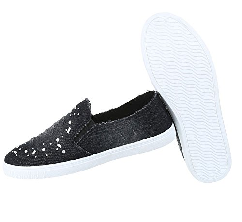 Damen Halbschuhe Schuhe Slipper Loafer Schwarz ...
