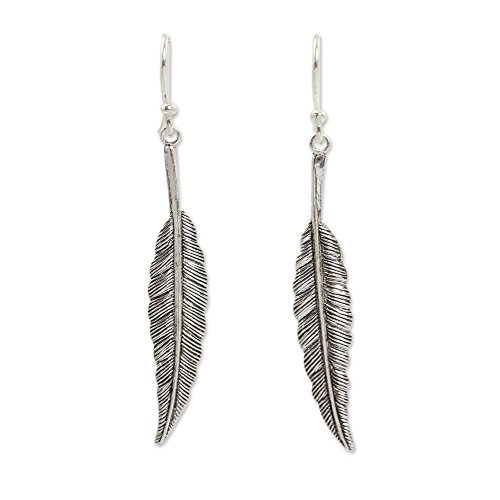 NOVICA .925 Sterling Silver Feather Motif Dangle Earrings, Flight'
