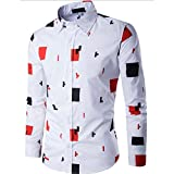 YANG-YI Hot Mens Long Sleeve Shirt Business Slim Fit Shirt Printed Blouse Top Casual (M, Orange)