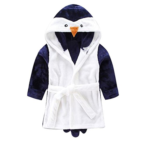 LUKYCILD Baby Girl Boy Cartoon Hooded Fleece Bathrobe Children Pajamas Sleepwear