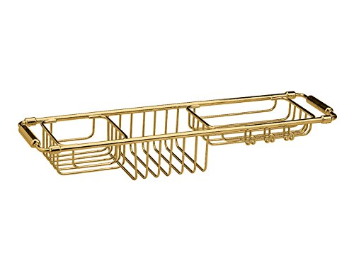 W-Luxury Bathtub Caddy Tray with Extending Sides Tub Tray Holder Rack Bath Storage, Brass (Polished Gold) by W-Luxury