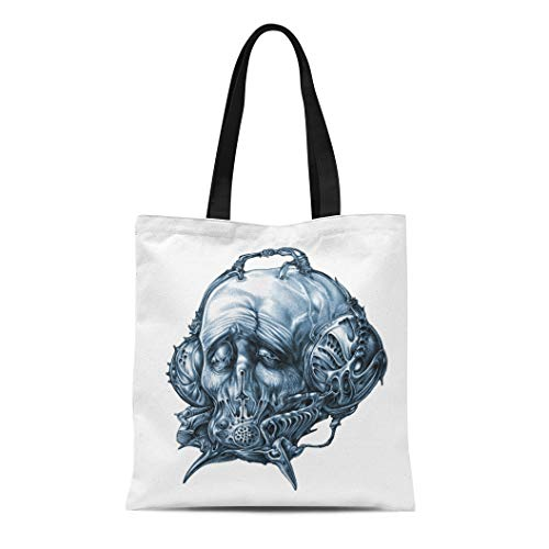 (Semtomn Canvas Bag Resuable Tote Grocery Adorable Shopping Portablebags Fantastic Character in Helmet Gas Mask Cyberpunk Steampunk Space Pilot Sci Fi Natural 14 x 16 Inches Canvas Cloth Tote)