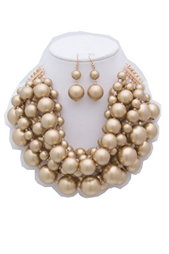 StyleNo1 {CN0664 WOMEN'S FASHIONABLE MULTI BIG PEARL NECKLACE AND EARRINGS SET - Designed In USA (GOLD) by StyleNo1 (Image #1)