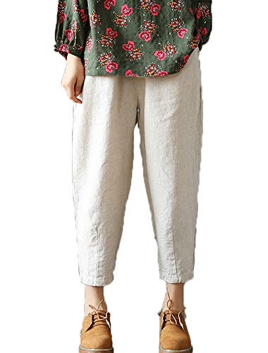 LaovanIn Women's Linen Cropped Pants Tapered Ankle Capris Trousers Elastic Waist X-Large Beige
