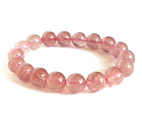 Strawberry Quartz, Muscovite Bracelet, Muscovite Crystal,Pink Gemstone Beads Bracelet 10 mm