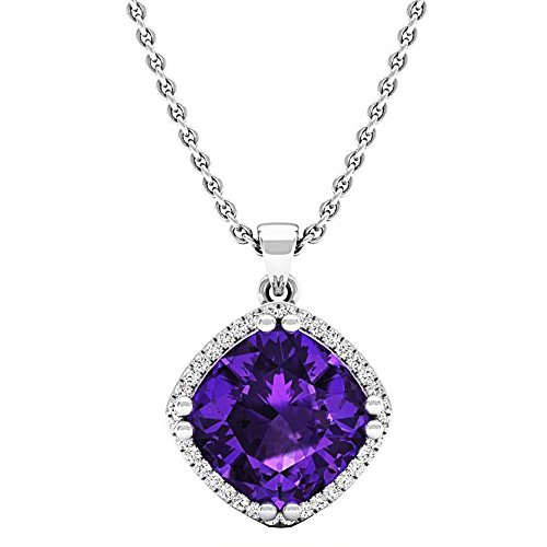 14K White Gold 10 MM Cushion Cut Amethyst & Round Cut White Diamond Ladies Halo Style Pendant by DazzlingRock Collection
