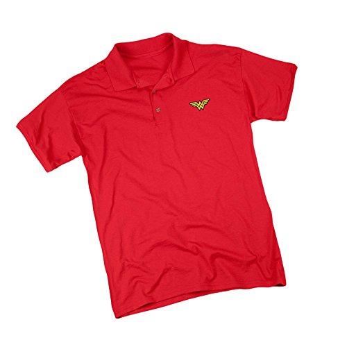 Dc Cotton Polo Shirt (Wonder Woman Emblem -- Adult Embroidered Appliqué Polo Sportshirt, Large)