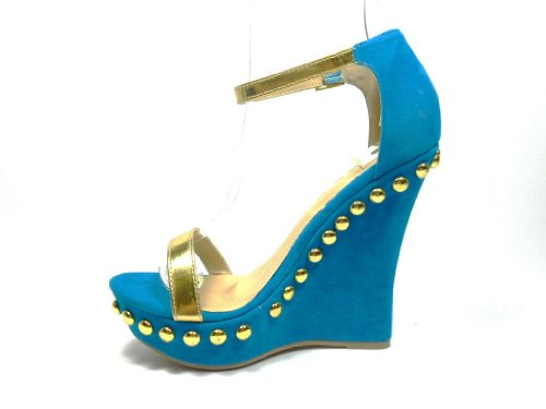 New Ladies Blue Suede & Gold Metallic Platform Open Toe Wedges feat round studs embellishment Y8Bnoi