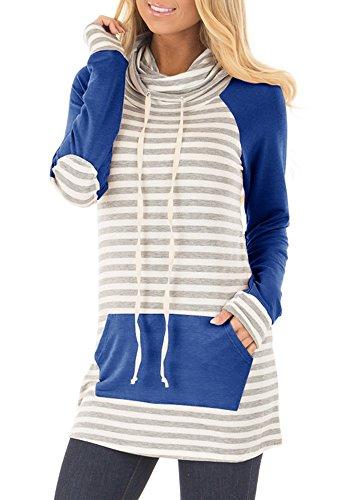 Gobought Womens Long Sleeve Sweatshirt Striped Cowl Neck Raglan Tunic Tops with Pockets Drawstring